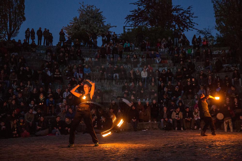 Berlin, Germany - 30.04.2017<br /> <br /> Walpurgis Night in the Berlin. Thousands celebrate peacefully the Walpurgis Night 2017 in the Mauerpark in Prenzlauer Berg.<br /> <br /> Walpurgisnacht im Berlin. Tausende feiern friedlich im Mauerpark in Prenzlauer Berg.<br /> <br /> Photo: Bjoern Kietzmann