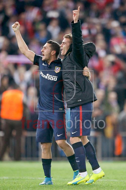 *BRAZIL ONLY* ATENÇÃO EDITOR, FOTO EMBARGADA PARA VEÍCULOS INTERNACIONAIS * Koke e Antoine Griezmann, do Atlético de Madrid, comemoram vitória após partida entre Atlético de Madrid e Barcelona, válida pela Liga dos Campeoes da UEFA. O jogo foi disputado no estádio Vicente Calderon, em Madri, na quarta-feira (14). Foto: DPPI/FramePhoto