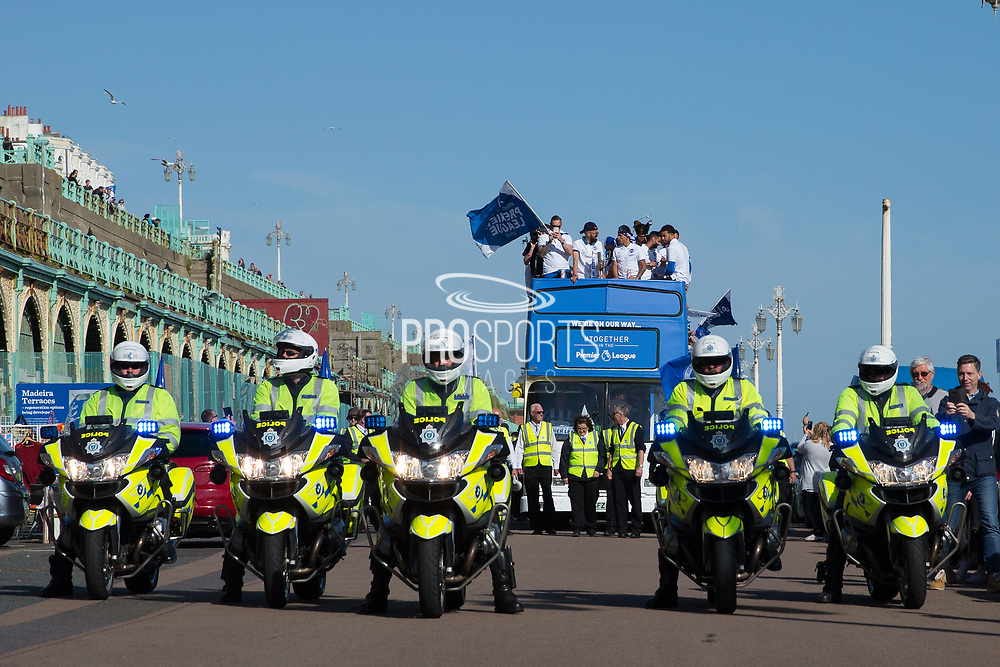 Players on the open top bus at the start of the Brighton & Hove Albion Football Club Promotion Parade at Brighton Seafront, Brighton, East Sussex. United Kingdom on 14 May 2017. Photo by Ellie Hoad.