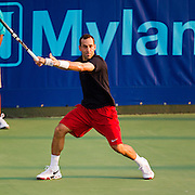 Bobby Reynolds of the Washington Kastles prepares to return a ball during a match against the Springfield Lasers at Mediacom Stadium on July 11, 2012 in Springfield, Missouri. (David Welker/www.Turfimages.com).