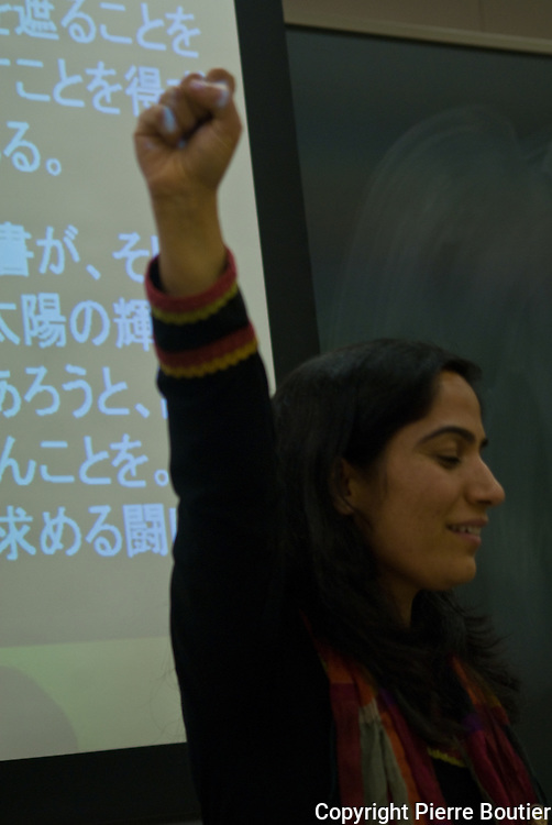Japan  tokyo,Malalai Joya  a former  afghan deputy give a conference about corruption in Afghanistan and criminal warlords, and druglords also  Taliban and US military occupation and tragic consequences on civilian populations.