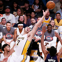 06 November 2016: Los Angeles Lakers forward Larry Nance Jr. (7) reaches for the ball during the LA Lakers 119-108 victory over the Phoenix Suns, at the Staples Center, Los Angeles, California, USA.