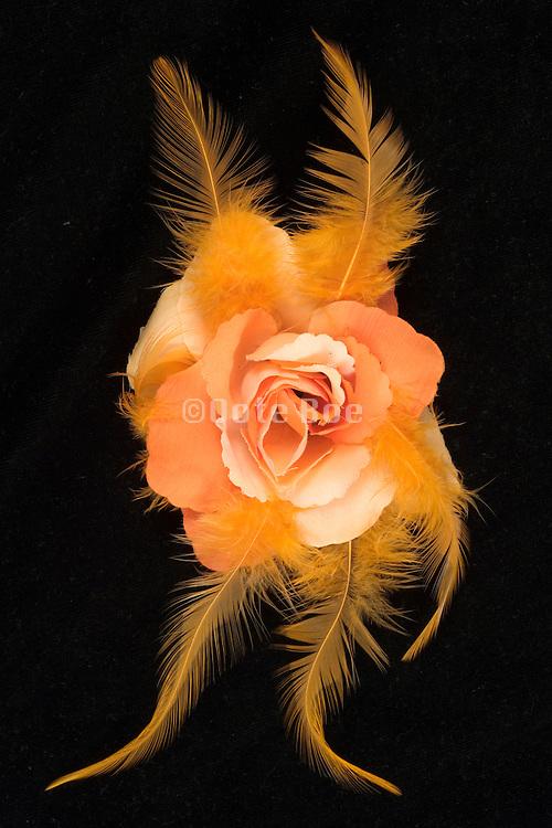 an orange rose made of fabric