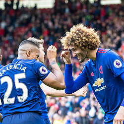 Birdy dance anyone? Marouane Fellaini of Manchester United with Antonio Valencia of Manchester United after the latter secured the points with his goal late on. Middlesborough v Manchester United, Barclays English Premier League, 19th March 2017. (c) Paul Cram | SportPix