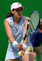 MELBOURNE, AUSTRALIA - JANUARY 20: Marion Bartoli of France in action against Alexandra Stevenson of USA during day two of the Australian Open. 20/01/2004, in Melbourne, Australia. (Photo by Lars Mueller/Sportsbeat) *** Local Caption *** Marion Bartoli