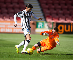 Dunfermline&rsquo;s Faissal El Bahktaoui scoring their second goal past Cowdenbeath's keeper Michael Andrews. <br /> Half time : Dunfermline 4 v 0 Cowdenbeath, SPFL Ladbrokes League Division One game played 15/8/2015 at East End Park.