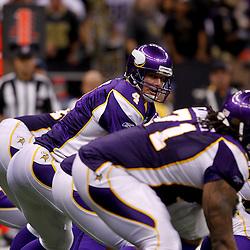 September 9, 2010; New Orleans, LA, USA;  Minnesota Vikings quarterback Brett Favre (4) under center during the NFL Kickoff season opener at the Louisiana Superdome. The New Orleans Saints defeated the Minnesota Vikings 14-9.  Mandatory Credit: Derick E. Hingle