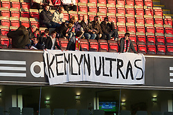 "LIVERPOOL, ENGLAND - Monday, April 19, 2010: Young Liverpool supporters in the old Kemlyn Road stand (Now Centenary Stand) display a banner reading ""KEMLYN ULTRAS"" before the Premiership match against West Ham United at Anfield. (Photo by: David Rawcliffe/Propaganda)"