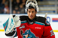 KELOWNA, BC - OCTOBER 12: Roman Basran #30 of the Kelowna Rockets stands at the bench during time out against the Kamloops Blazers at Prospera Place on October 12, 2019 in Kelowna, Canada. (Photo by Marissa Baecker/Shoot the Breeze)