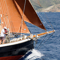 Crew make off halyards as this small gaff rigged schooner prepares for the start of racing at the 2008 Antigua Classic Yacht Regatta . This race is one of the worlds most prestigious traditional yacht races. It takes place annually off the costa of Antigua in the British West Indies.