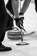 "Glasgow. SCOTLAND.  ""Sweeping"", as an alignment point,  ""Round Robin"" Game. Le Gruyère European Curling Championships. 2016 Venue, Braehead  Scotland<br /> Tuesday  22/11/2016<br /> <br /> [Mandatory Credit; Peter Spurrier/Intersport-images]"