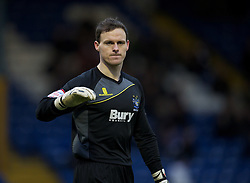BURY, ENGLAND - New Year's Day Tuesday, January 1, 2013: Bury's goalkeeper Trevor Carson in action against Tranmere Rovers during the Football League One match at Gigg Lane. (Pic by David Rawcliffe/Propaganda)
