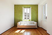 home interior,<br /> view<br /> white sofa and window