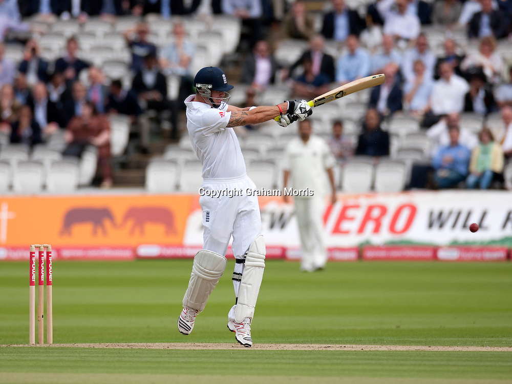 Kevin Pietersen bats during the first npower Test Match between England and India at Lord's Cricket Ground, London.  Photo: Graham Morris (Tel: +44(0)20 8969 4192 Email: sales@cricketpix.com) 21/07/11