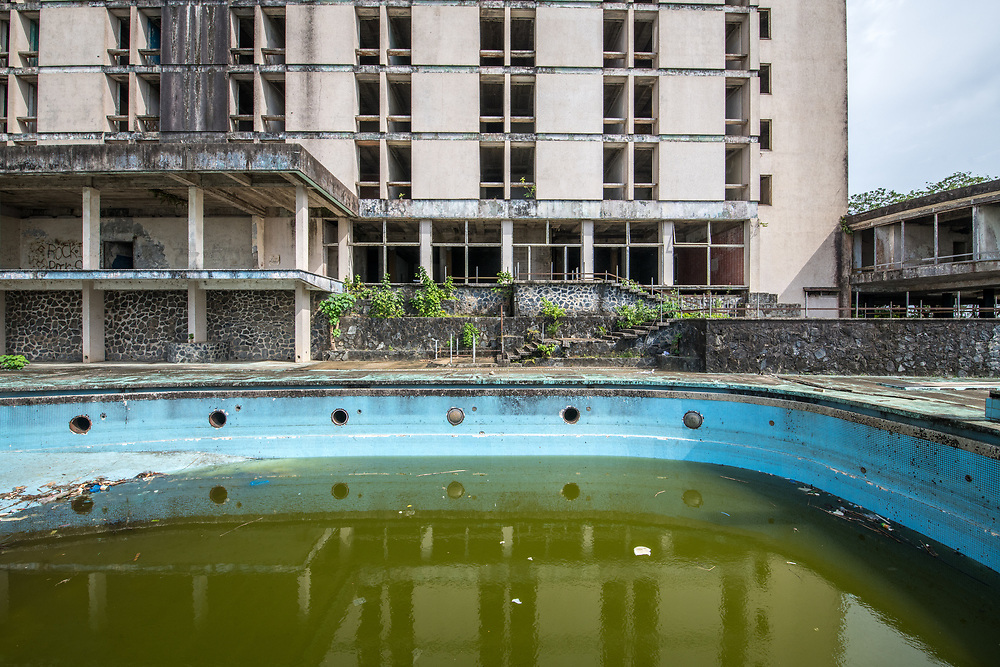 A pool at the abandoned Ducor Hotel, once the most prominent hotels in Monrovia, Liberia