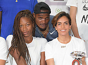 Phyllis Francis  (USA), left, Omar McLeod (JAM), center, and Rabab Al-Arafi (MAR) pose at an IAAF Diamond League press conference prior to the  Meeting International Mohammed VI d'Athletisme de Rabat 2019, Saturday, June 15, 2019, in Rabat, Morocco. (Image of Sport)