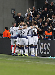 BRITAIN-LONDON-FOOTBALL-CHAPIONS LEAGUE-HOTSPUR VS EINDHOVEN.(181106) -- LONDON, Nov. 6, 2018  Tottenham Hotspur's players celebrate after Harry Kane scores the winning goal during the UEFA Champions League match between Tottenham Hotspur and PSV Eindhoven in London, Britain on Nov. 6, 2018. Tottenham Hotspur won 2-1.  FOR EDITORIAL USE ONLY. NOT FOR SALE FOR MARKETING OR ADVERTISING CAMPAIGNS. NO USE WITH UNAUTHORIZED AUDIO, VIDEO, DATA, FIXTURE LISTS, CLUBLEAGUE LOGOS OR ''LIVE'' SERVICES. ONLINE IN-MATCH USE LIMITED TO 45 IMAGES, NO VIDEO EMULATION. NO USE IN BETTING, GAMES OR SINGLE CLUBLEAGUEPLAYER PUBLICATIONS. (Credit Image: © Xinhua via ZUMA Wire)