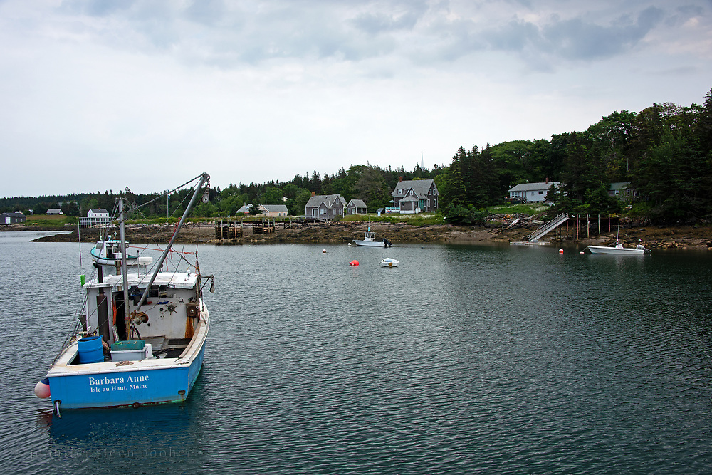 Fishing boats in the harbor of Isle au Haut, Maine.