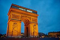 France, Paris, 11 january 2015 March for Charlie Hebdo, Arc de Triomphe