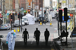 June 5, 2017 - London, England, United Kingdom - Police and forensic officers investigate the scene after a terror attack that killed 7 people on London Bridge and at Borough Market in central London. (Credit Image: © Tolga Akmen/London News Pictures via ZUMA Wire)