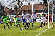 Forest Green Rovers Omar Bugiel(11) shoots at goal misses the target during the Vanarama National League match between Guiseley  and Forest Green Rovers at Nethermoor Park, Guiseley, United Kingdom on 8 April 2017. Photo by Shane Healey.