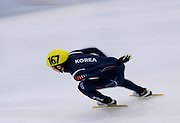 Park Se Yeong of South Korea competes in the Men's 500 Meters on day two of the 2013 ISU Short Track Speed Skating Junior World Championships at Torwar Ice Hall on February 23, 2013 in Warsaw, Poland...Poland, Warsaw, February 23, 2013...Picture also available in RAW (NEF) or TIFF format on special request...For editorial use only. Any commercial or promotional use requires permission...Photo by © Adam Nurkiewicz / Mediasport