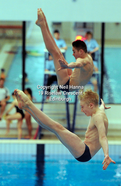 Scottish National Diving Championships & Thistle Trophy 2015<br /> <br /> Royal Commonwealth Pool, Edinburgh<br /> Men's Women's  3m Synchronised Final<br /> <br />  Neil Hanna Photography<br /> www.neilhannaphotography.co.uk<br /> 07702 246823