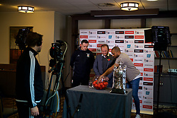 CARDIFF, WALES - Monday, November 6, 2017: FAW's Andrew Howard, Wales' goalkeeping coach Tony Roberts and former player Daniel Gabbidon perform the draw for the 3rd Round of the Welsh Cup at the Vale Resort. (Pic by David Rawcliffe/Propaganda)