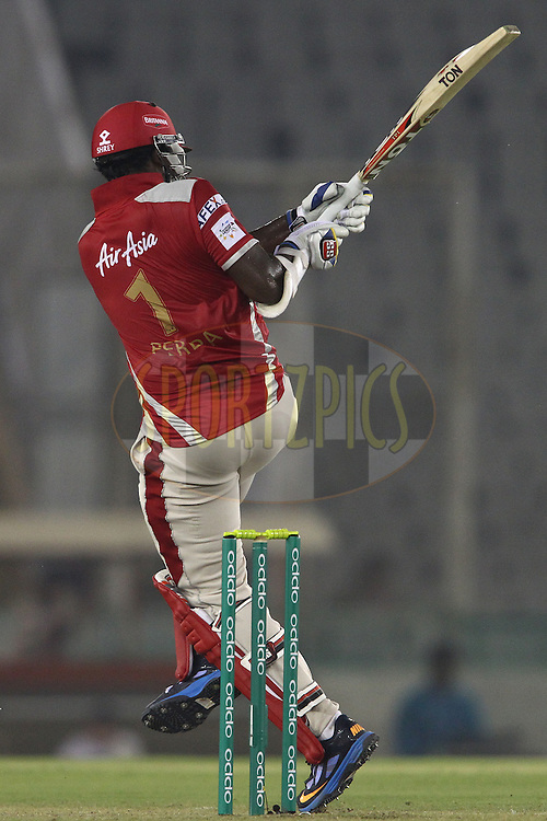 Thisara Perera of the Kings XI Punjab pulls a delivery during match 2 of the Oppo Champions League Twenty20 between the Kings XI Punjab and the Hobart Hurricanes held at the Punjab Cricket Association Stadium, Mohali, India on the 18th September 2014<br /> <br /> Photo by:  Shaun Roy / Sportzpics/ CLT20<br /> <br /> <br /> Image use is subject to the terms and conditions as laid out by the BCCI/ CLT20.  The terms and conditions can be downloaded here:<br /> <br /> http://sportzpics.photoshelter.com/gallery/CLT20-Image-Terms-and-Conditions-2014/G0000IfNJn535VPU/C0000QhhKadWcjYs