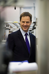 © London News Pictures. 23/09/2012. Brighton, UK.  Liberal Democrat Leader and Deputy Prime Minister, Nick Clegg  during a tour of Ricardo Shoreham Technical Centre in Shoreham-by-Sea on September 24, 2012 with  Liberal Democrat Business Secretary, Vince Cable. Photo credit : Ben Cawthra/LNP.