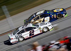 October 14, 2018 - Talladega, AL, U.S. - TALLADEGA, AL - OCTOBER 14: #2: Brad Keselowski, Team Penske, Ford Fusion Miller Lite, #9: Chase Elliott, Hendrick Motorsports, Chevrolet Camaro NAPA NIGHTVISION LAMPS during the runinng of the 1000Bulbs.com500 on Sunday October 14, 2018 at Talladega SuperSpeedway in Talladega Alabama (Photo by Jeff Robinson/Icon Sportswire) (Credit Image: © Jeff Robinson/Icon SMI via ZUMA Press)