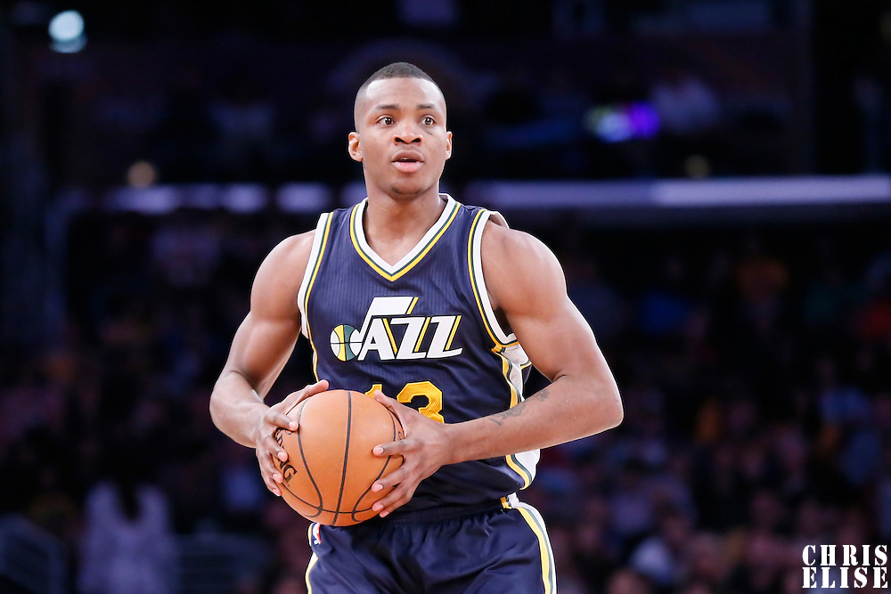 19 March 2015: Utah Jazz guard Elijah Millsap (13) looks to pass the ball during the Utah Jazz 80-73 victory over the Los Angeles Lakers, at the Staples Center, Los Angeles, California, USA.
