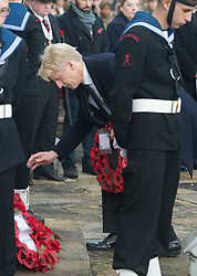 © Licensed to London News Pictures. 11/11/2018. Orpington, UK.Jo Johnson laying his wreath at the war memorial. Ex-transport minister and MP for Orpington Jo Johnson attending the Remembrance day service at Orpington war memorial to mark one hundred years since the end of the first world war.Photo credit: Grant Falvey/LNP