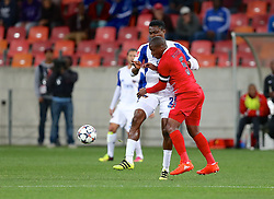 James Okwuosa of Chippa United and Paulus Masehe (c) of Free State Stars collide during the 2016 Premier Soccer League match between Chippa United and Free State Stars held at the Nelson Mandela Bay Stadium in Port Elizabeth, South Africa on the 23rd August 2016<br /><br />Photo by:   Richard Huggard / Real Time Images