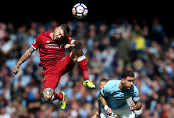 Alberto Moreno of Liverpool challenges Kyle Walker of Manchester City - Mandatory by-line: Matt McNulty/JMP - 09/09/2017 - FOOTBALL - Etihad Stadium - Manchester, England - Manchester City v Liverpool - Premier League
