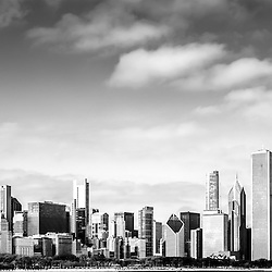 Chicago Skyline Panoramic Black and White Picture with the most popular Chicago buildings inluding the Willis Tower (Sears Tower), Trump Tower, and John Hancock Center building. Panorama ratio is 1:3.