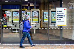 © Licensed to London News Pictures. 21/03/2020. Leeds UK. McDonald's in Leeds city centre is still open but only takeout's are available due to the Covid 19 outbreak. Photo credit: Andrew McCaren/LNP