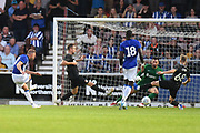 Sheffield Wednesday forward Jordan Rhodes (7)  scores a goal from open play 0-4 during the Pre-Season Friendly match between Northampton Town and Sheffield Wednesday at the PTS Academy Stadium, Northampton, England on 16 July 2019.