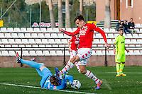 MARBELLA - 07-01-2017, Trainingskamp, AZ - FC Augsburg, FC Augsburg keeper Andreas Luthe, AZ speler Mats Seuntjens