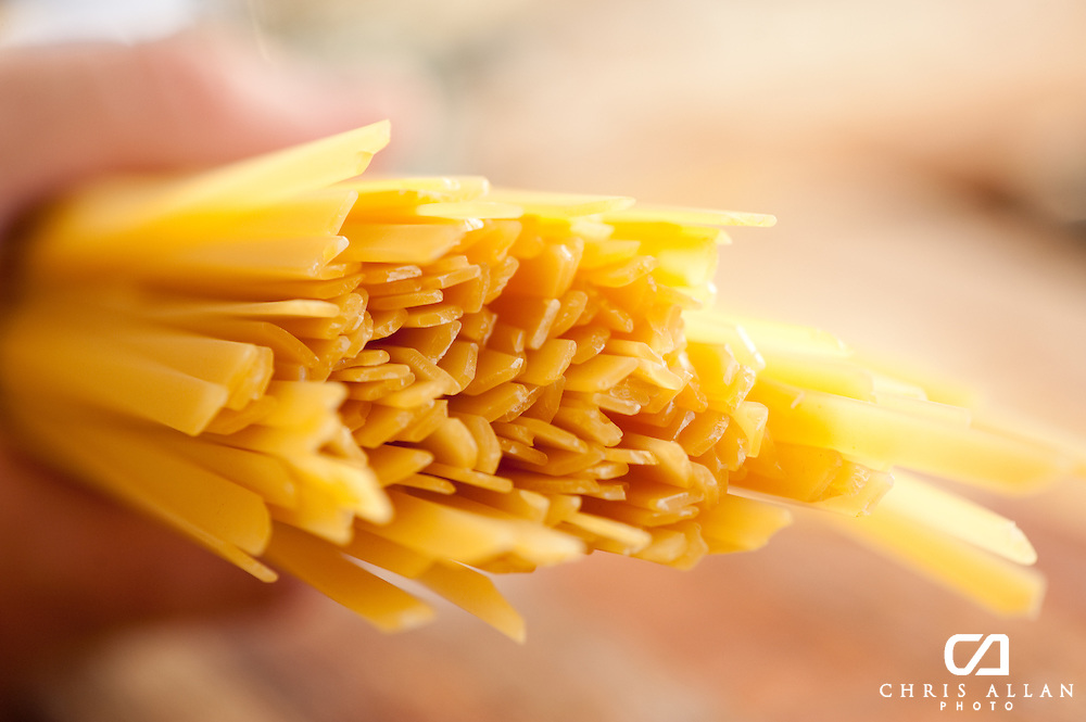 Close up of linguine pasta