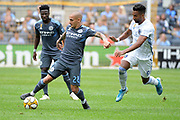 Alexandru Mitrita of NYCFC tries to get away from Danny Hoesen of San Jose Earthquakes during a MLS soccer game, Saturday, Sept. 14, 2019, in New York.NYCFC defeated San Jose Earthquakes 2-1.(Errol Anderson/Image of Sport)