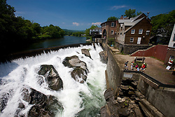Falls below the covered bridge in Quechee, Vermont. Ottauquechee River.