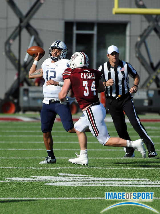 Sep 9, 2017; Amherst, MA, USA; Old Dominion quarterback Jordan Hoy (12) during a NCAA football game at McGuirk Alimni Stadium. The Old Dominion Monarchs defeated the University of Massachusetts Minutemen 17-7. Photo by Reuben Canales