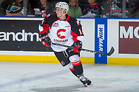 KELOWNA, CANADA - OCTOBER 28: Benjamin Coppinger #14 of the Prince George Cougars warms up against the Kelowna Rockets on October 28, 2017 at Prospera Place in Kelowna, British Columbia, Canada.  (Photo by Marissa Baecker/Shoot the Breeze)  *** Local Caption ***