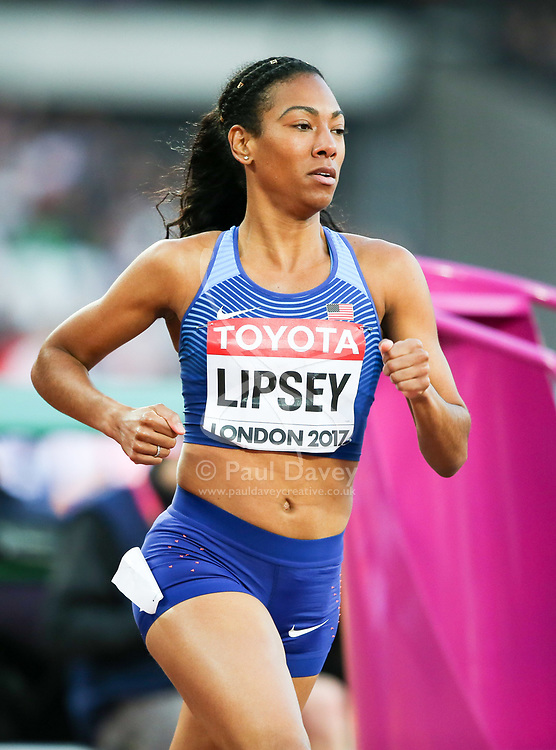 London, August 10 2017 . Charlene Lipsey, USA, in the women's 800m heats on day seven of the IAAF London 2017 world Championships at the London Stadium. © Paul Davey.