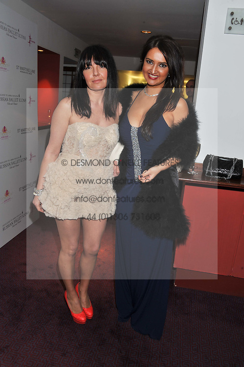Left to right, fashion designer NATALIA KAUT and ALINA BLINOVA at the Russian Ballet Icons Gala & Dinner dedicated to Anna Pavlova held at the The London Coliseum 33-35 St.Martin's Lane, London on 4th March 2012.
