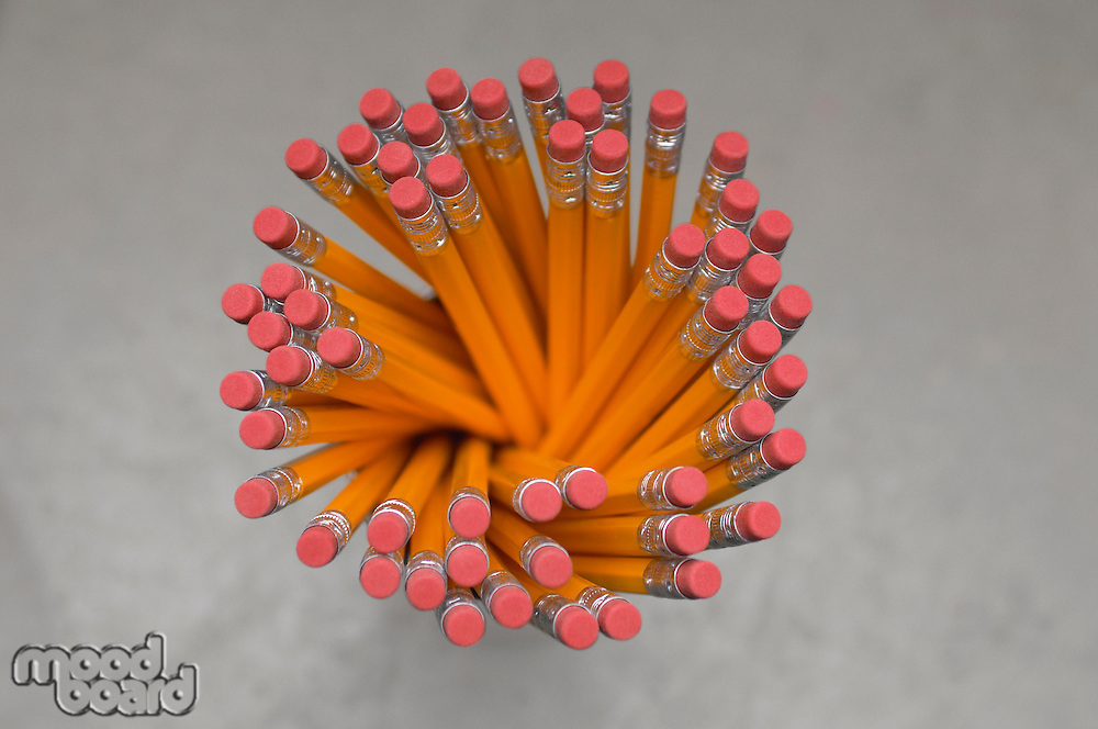 New pencils in container, view from above