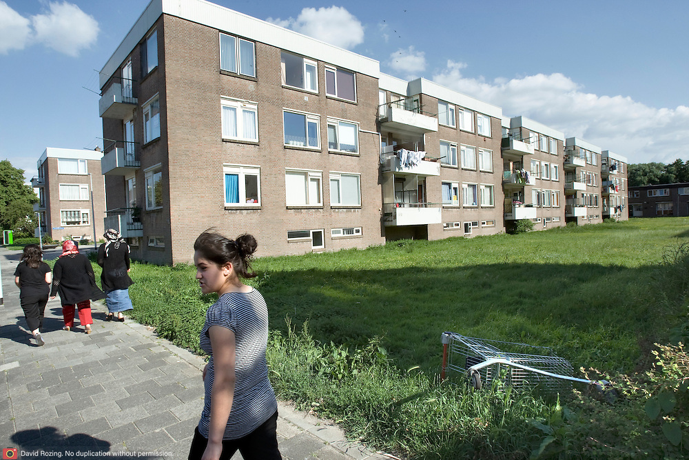 Nederland Rotterdam 01-06-2009 20090601 Foto: David Rozing   ..Achterstandswijk Pendrecht Rotterdam zuid, bewoners lopen door de wijk, op een grasveld  is een winkelwagentje achtergelaten. Rommel laten slingeren.   deprived area / projects âEURoeKatendrecht âEURoe This area is on a list with projects which need help of the government because of degradation in the area etc., project, suburb, suburbian, problem. Neighboorhood, neighboorhoods, district, city, problems,  daily life Holland, The Netherlands, dutch, Pays Bas, Europe ..Foto: David Rozing