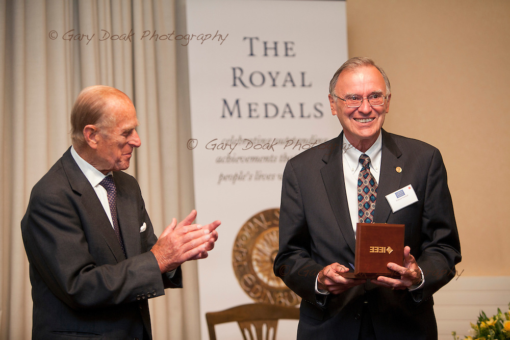 Royal Medals presentation by HRH The Duke of Edinburgh at The Royal Society of Edinburgh..Presentation of IEEE/RSE/Wolfson, James Clerk Maxwell Award to Dr. Ted Hoff FIEEE by HRH The Duke of Edinburgh.