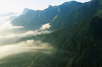 Mist in mountain landscape elevated view